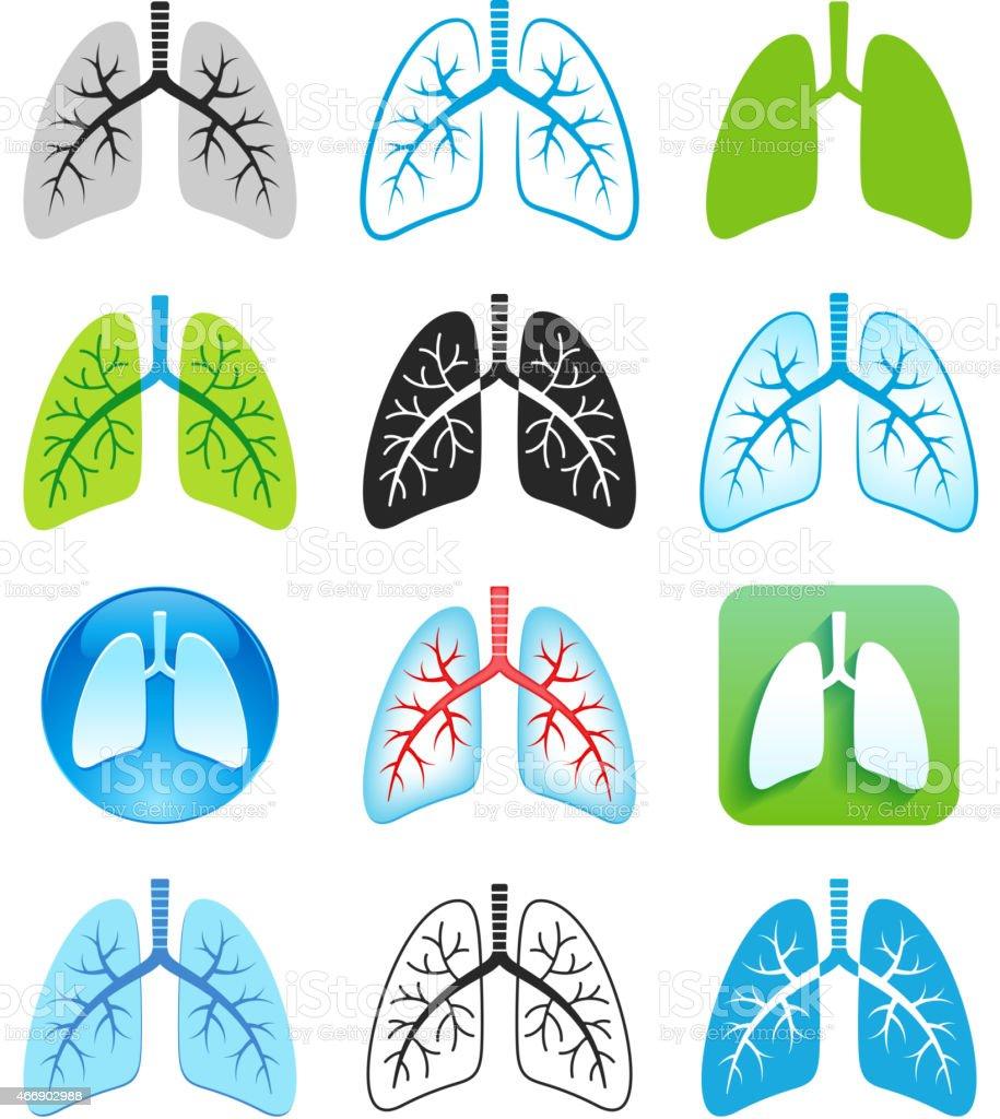 Human Lung Symbols vector art illustration