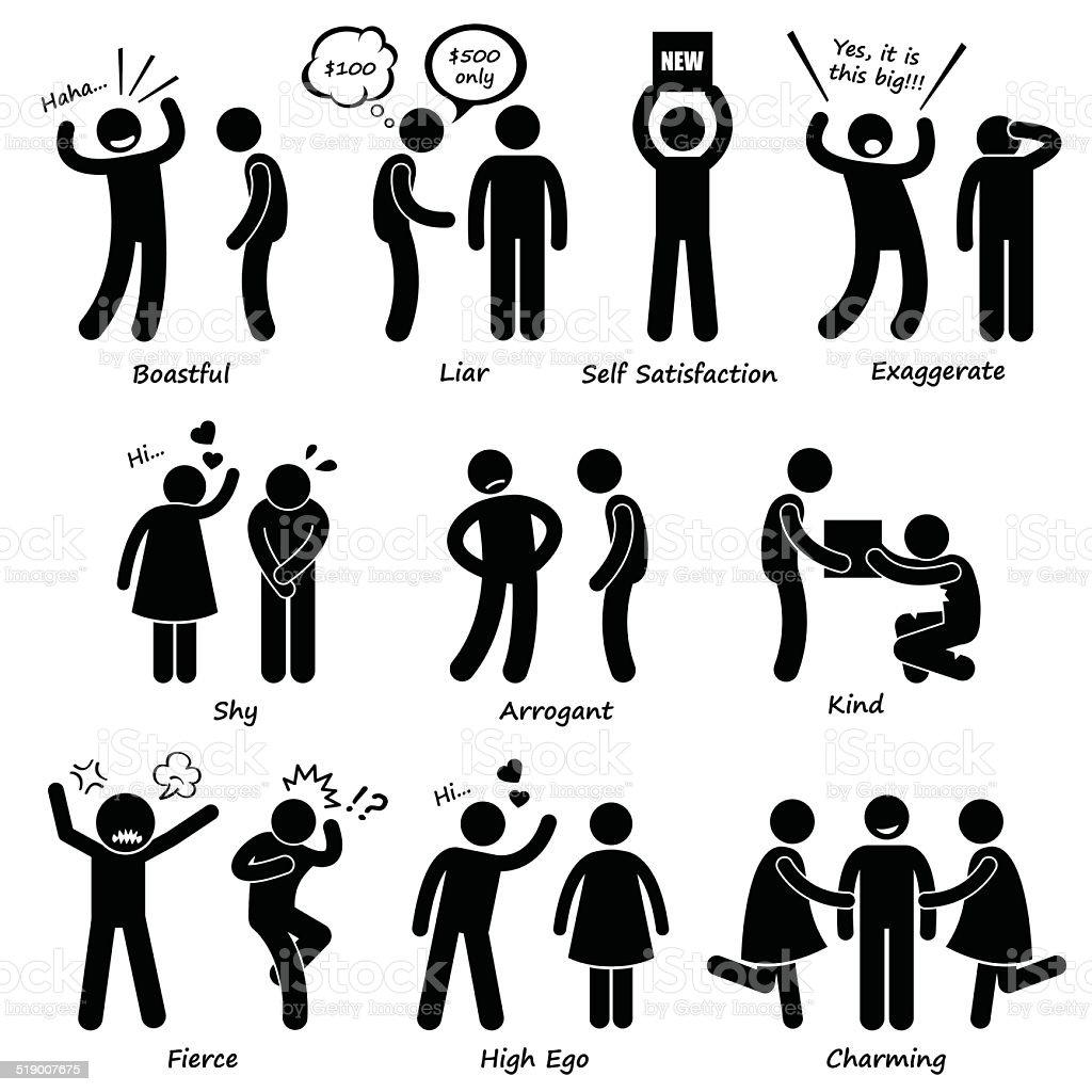 Human Man Character Behaviour Stick Figure Pictogram Icons vector art illustration