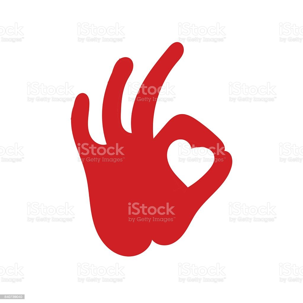 human okay hand sign with heart vector art illustration