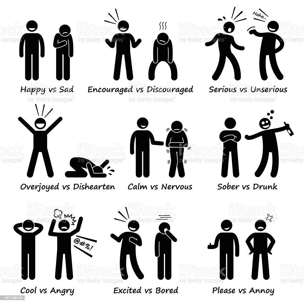 Human Opposite Behaviour Positive vs Negative Character Traits vector art illustration