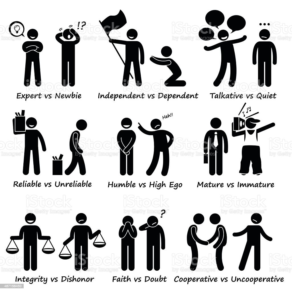 Human Opposite Behaviour Positive vs Negative Character Traits Pictogram vector art illustration