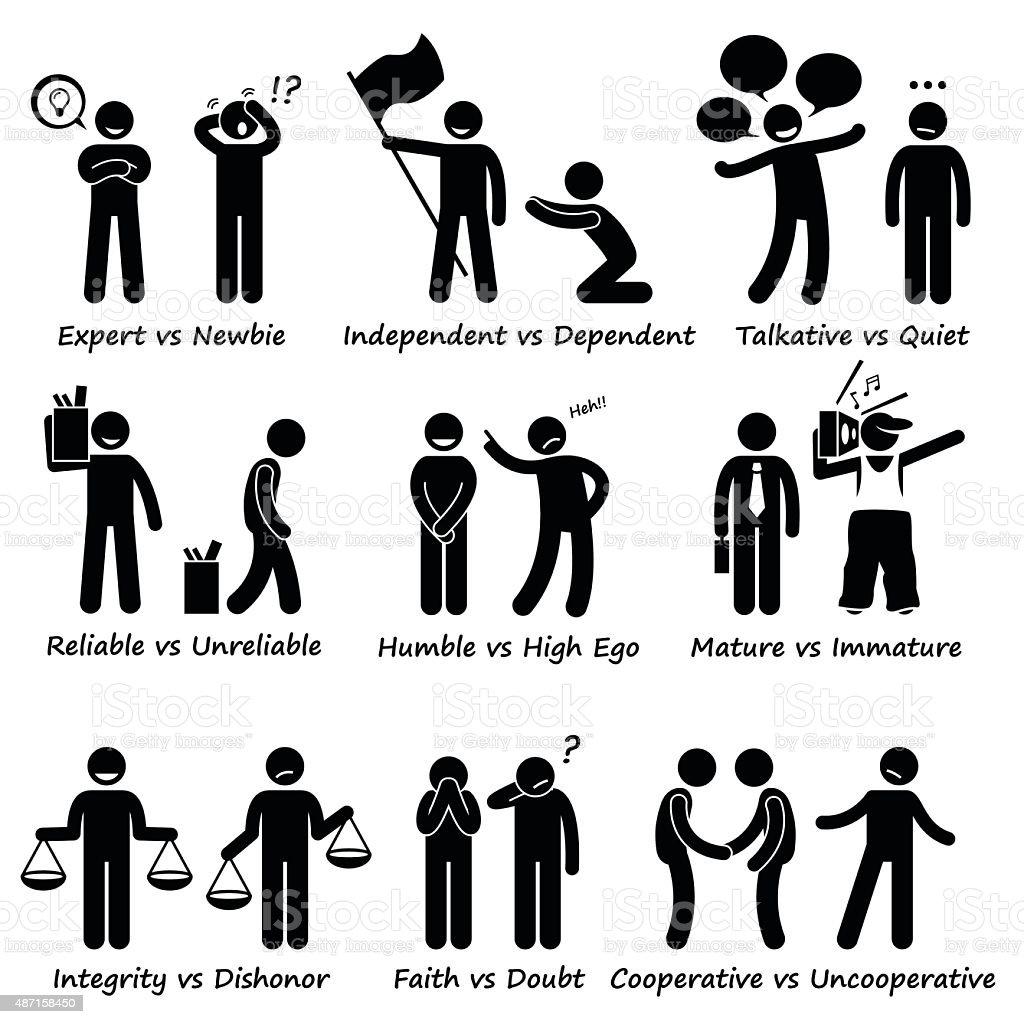 Human Opposite Behaviour Positive vs Negative Character Traits Pictogram vector art illustration