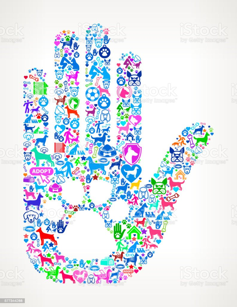 Human Palm Dog Paw Dog  Canine Pet Colorful Icon Pattern vector art illustration