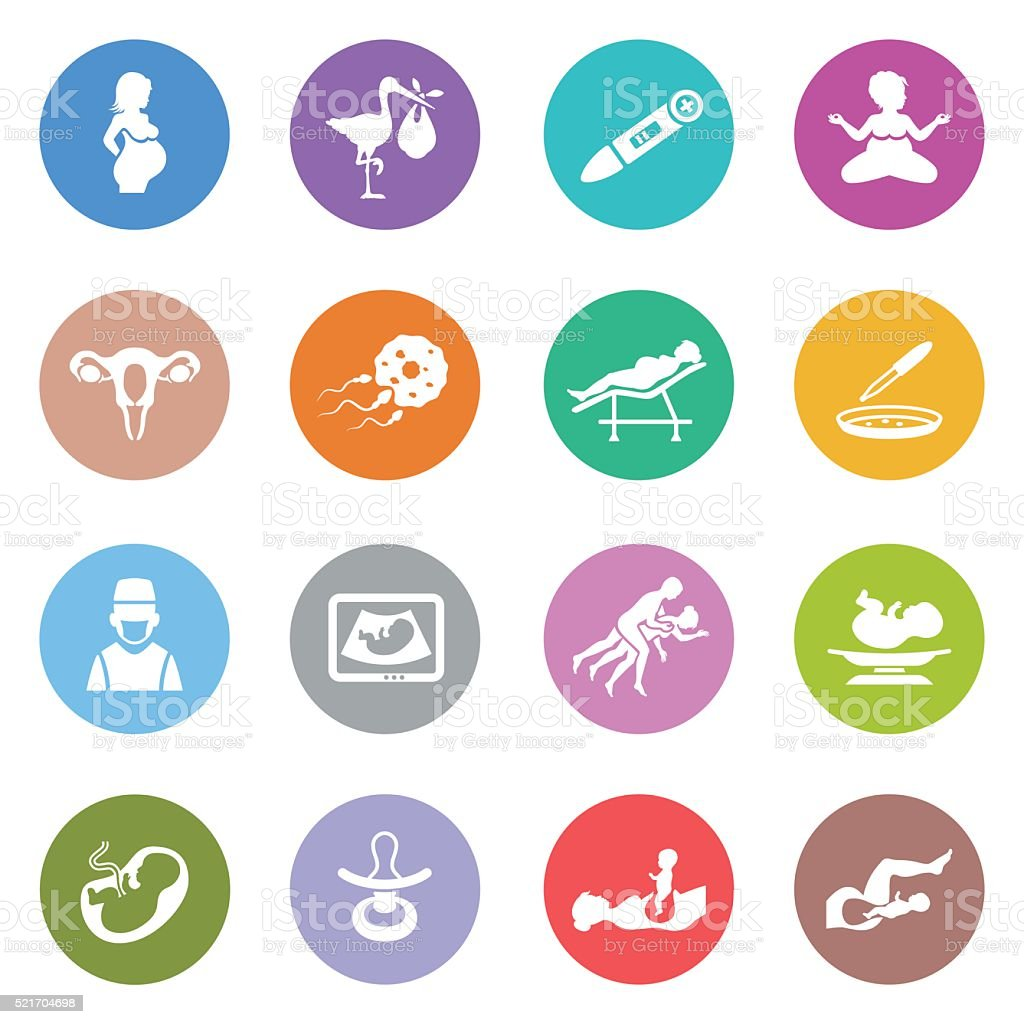 Human Pregnancy Icons vector art illustration