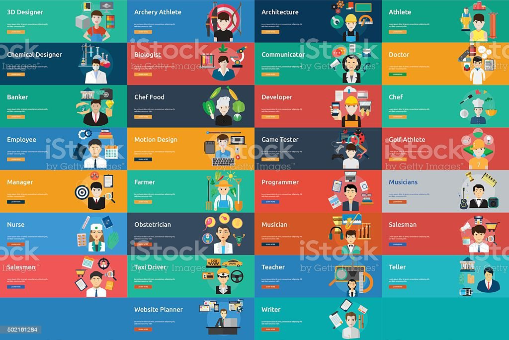 Human Profession Banner Set vector art illustration