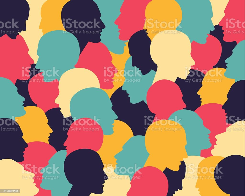 Human profile head in dialogue. Simply flat design. Vector illustration. vector art illustration