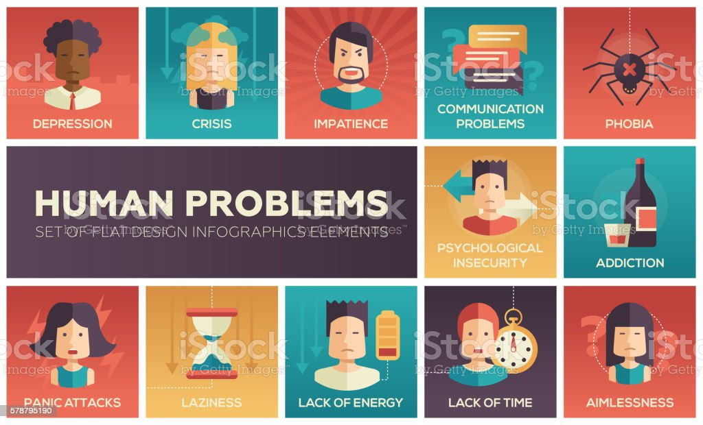 Human psychological problems- flat design icons set vector art illustration