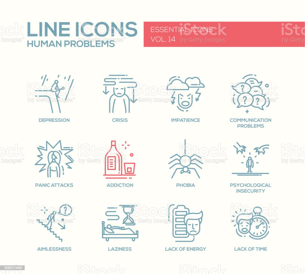 Human psychological problems- line design icons set vector art illustration