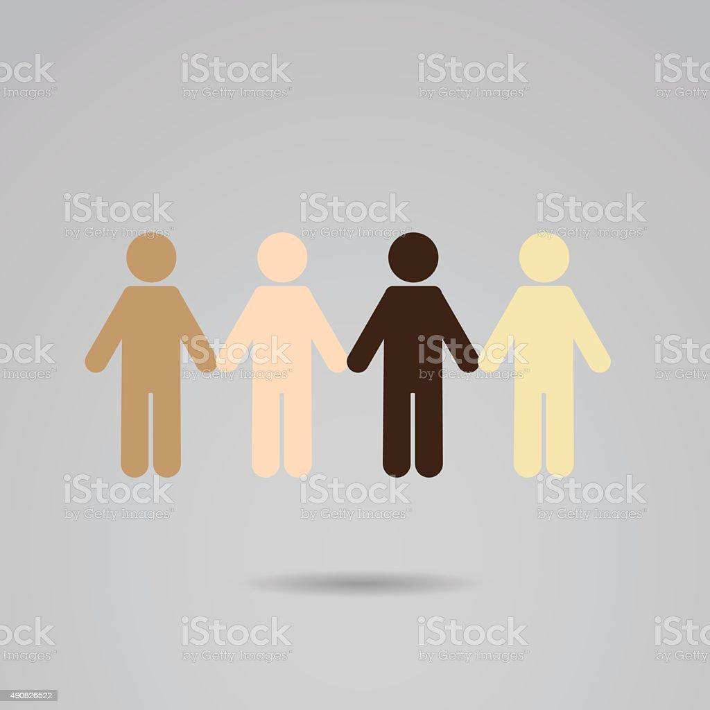 Human races - solidarity. vector art illustration