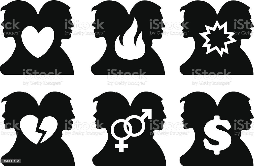 Vector illustration of silhouette of back to back two persons and a...