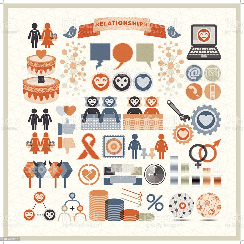 human relationships infographic icons vector art illustration