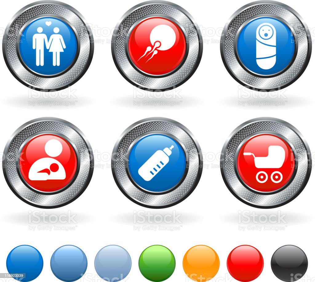 human reproduction and parenting  icon set on metallic button vector art illustration