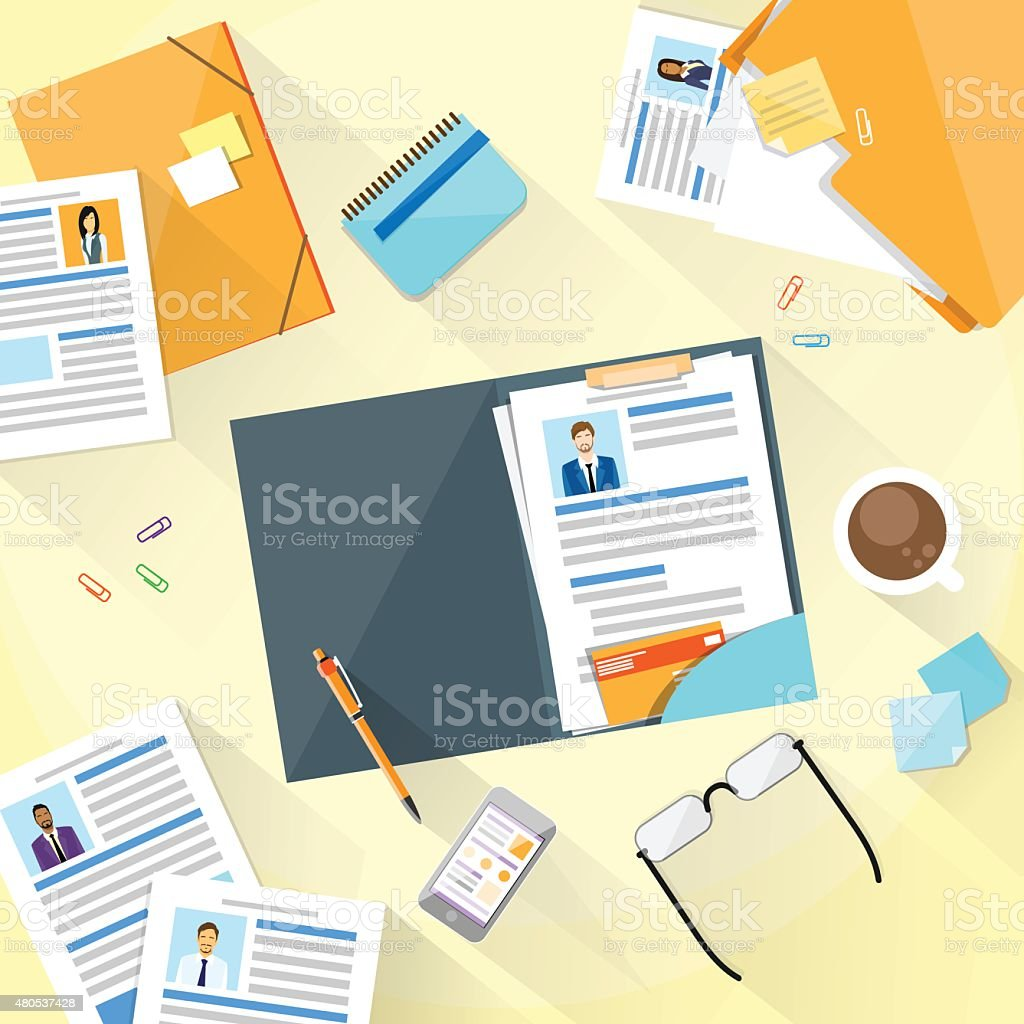 Human Resouce Working Place Desk Documents Curriculum Vitae vector art illustration
