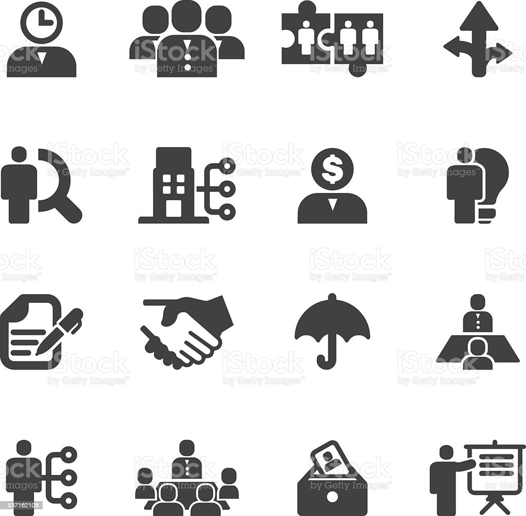 Human resource and Management Silhouette icons   EPS10 vector art illustration