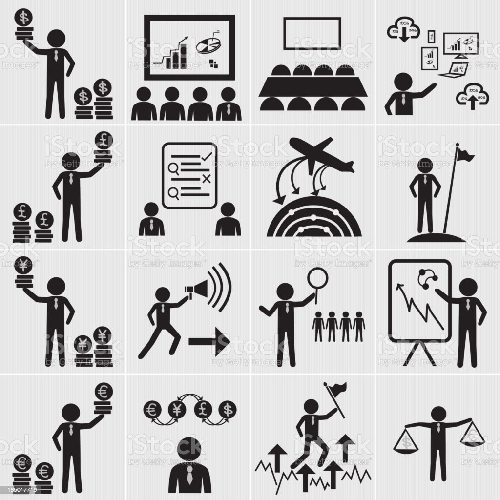 Human resource, business and management icon set royalty-free stock vector art