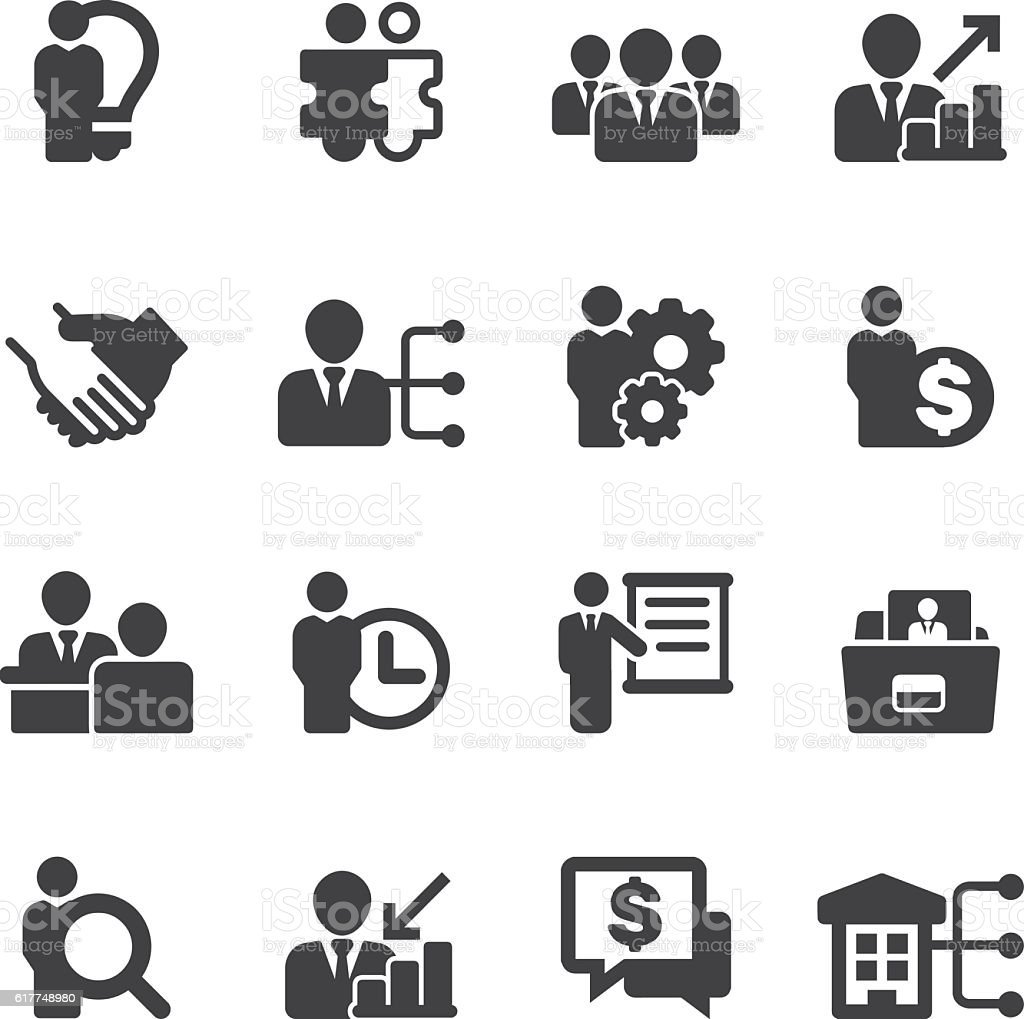 Human resource Business and Management Silhouette Icons | EPS10 vector art illustration