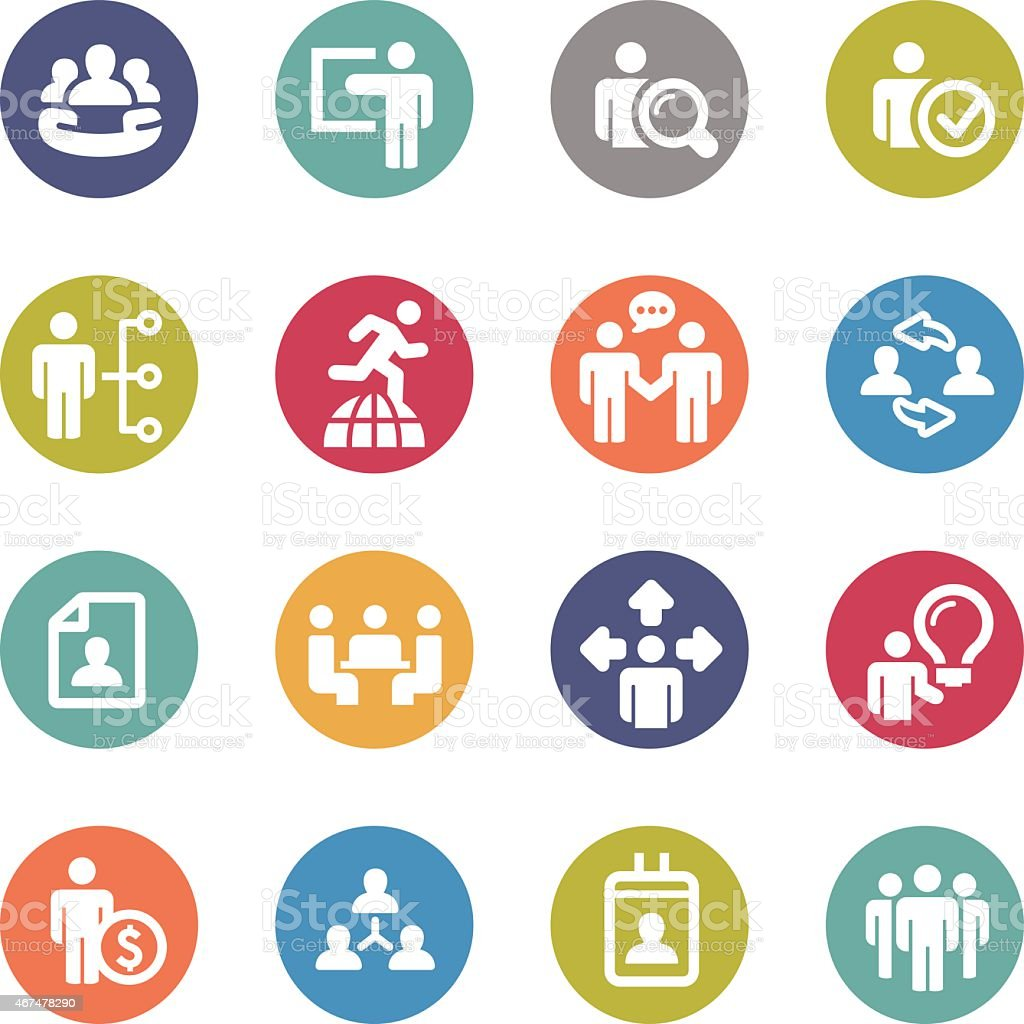 Human Resource, Business and Strategy Icons - Circle Series vector art illustration