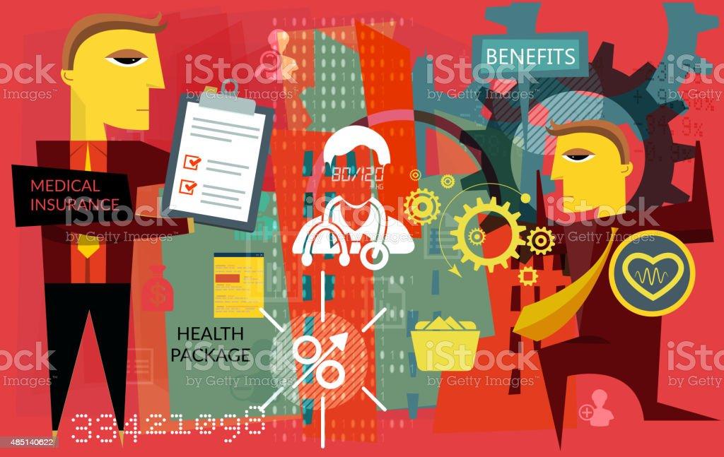 Human Resource Challenges - Medical Insurance vector art illustration