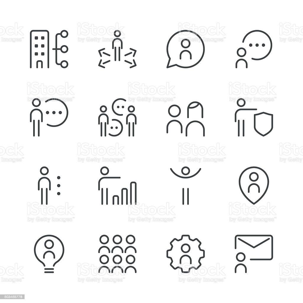 Human resource management icons set 2 | Black Line series vector art illustration