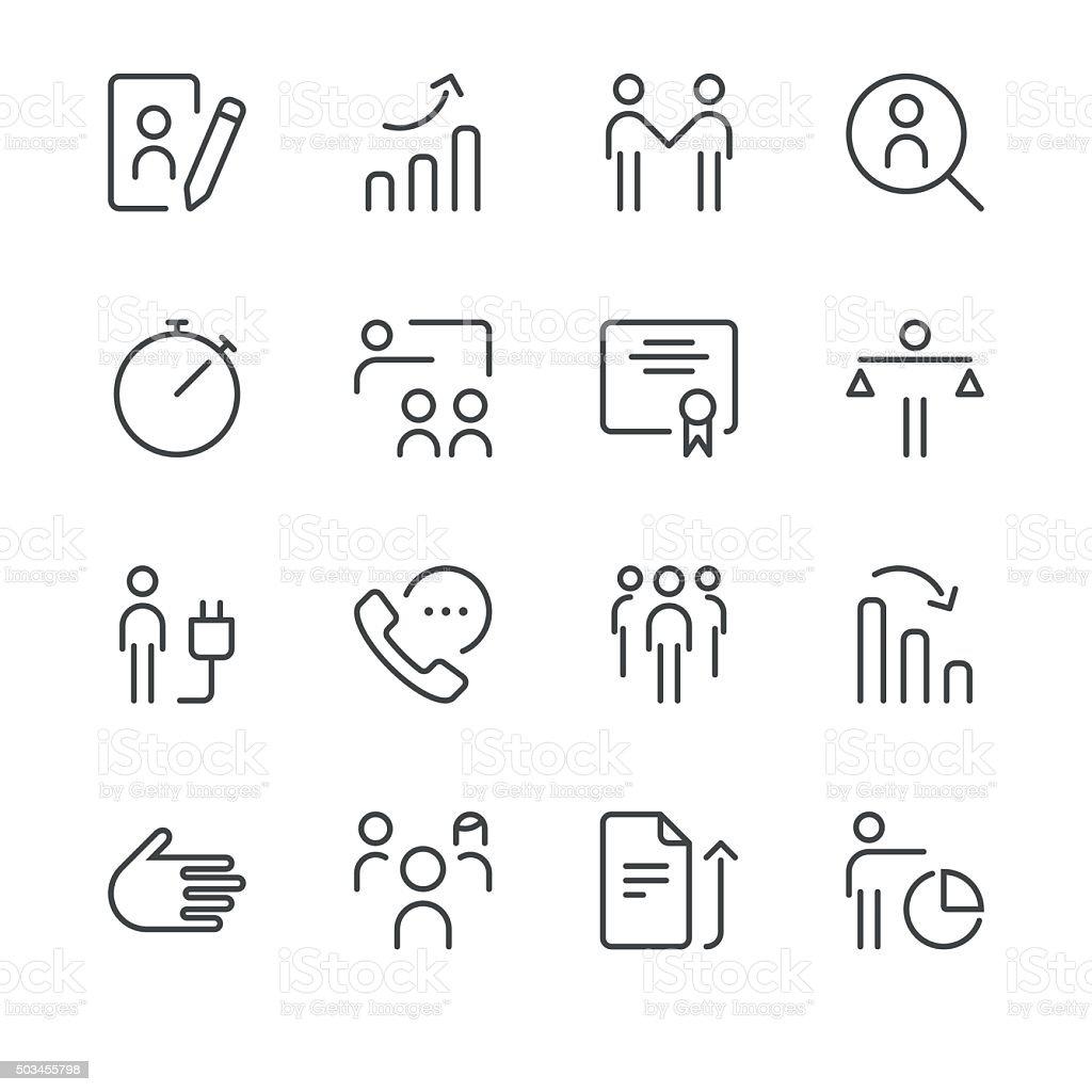Human resource management icons set 3 | Black Line series vector art illustration