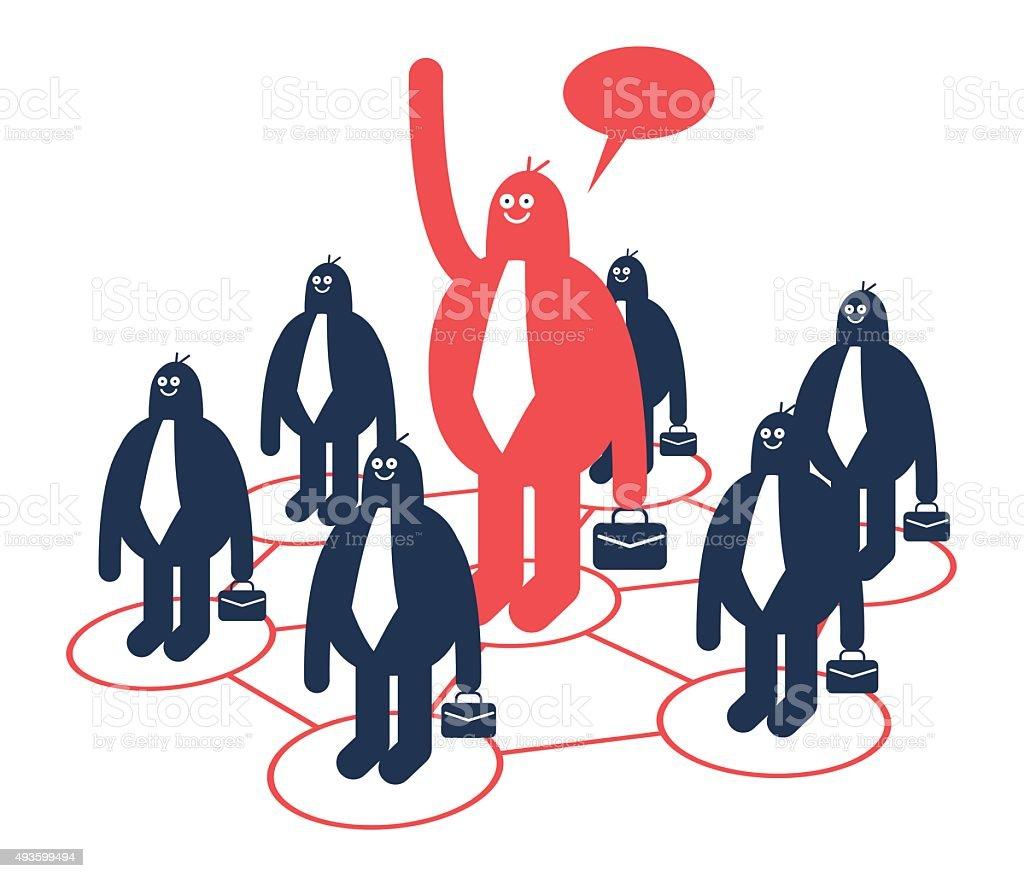 Human Resource Management, Leadership, Outsourcing vector art illustration