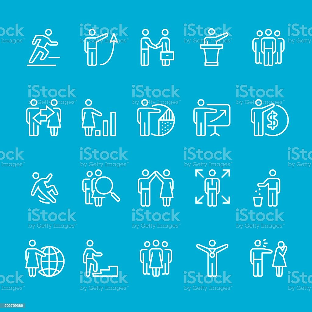 Human Resource Stick Figure icons collection vector art illustration