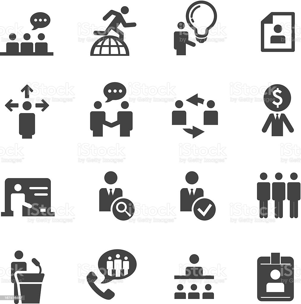 Human resource, strategy and business icons series vector art illustration