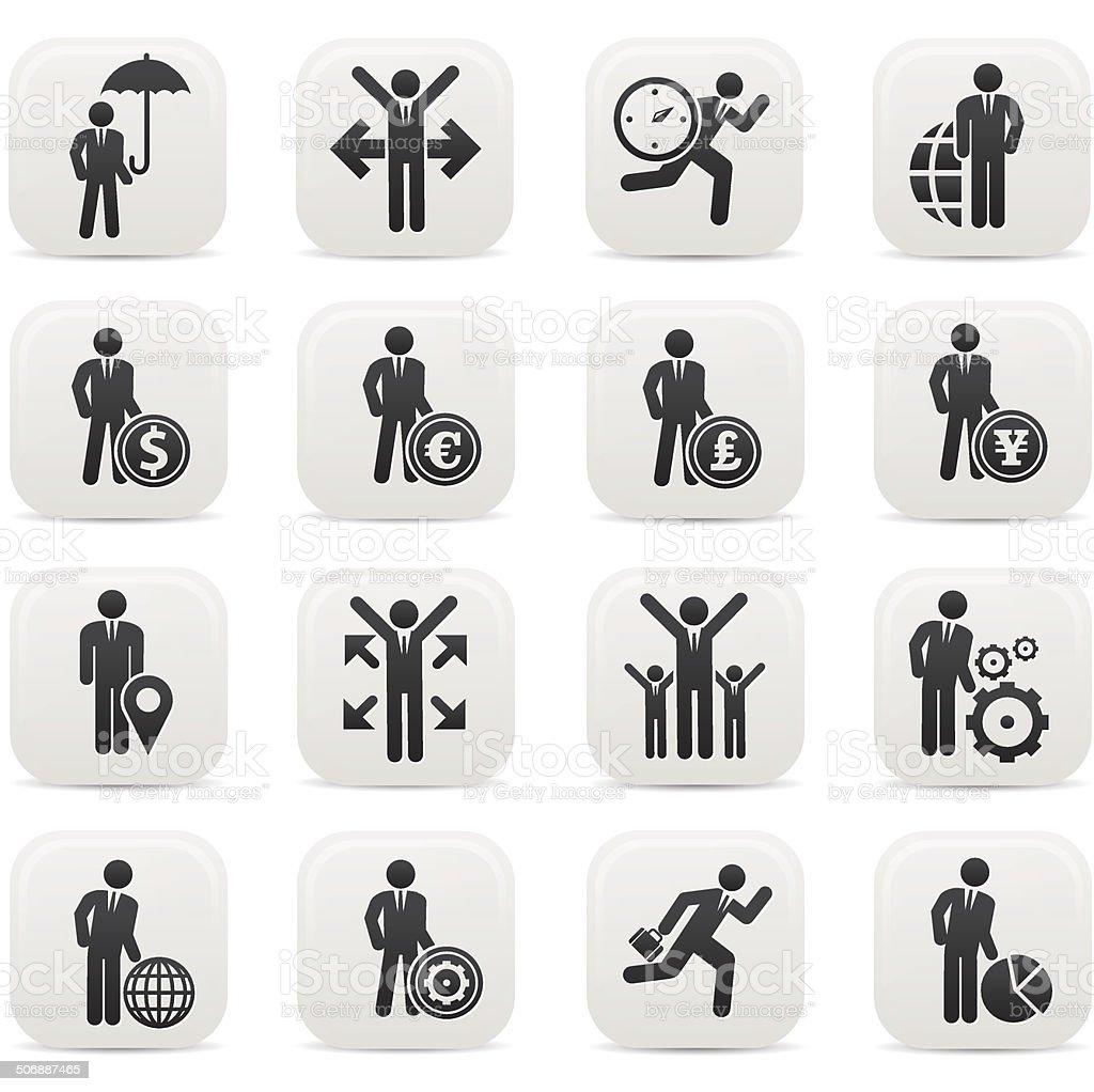 Human resource,Businessma n icons,Black version,vector vector art illustration