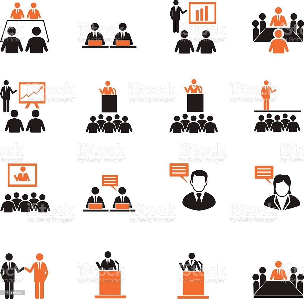 Human resources and management icons set vector art illustration