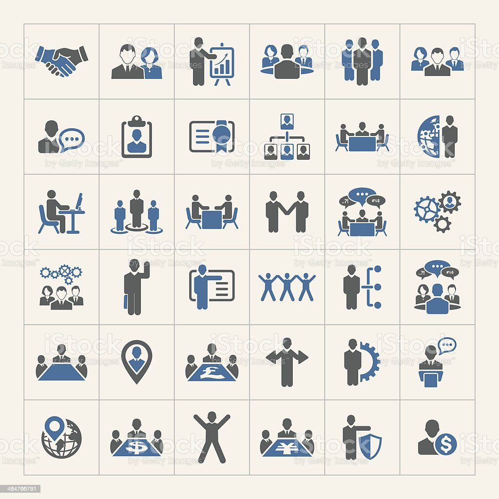 Human resources and management icons set royalty-free stock vector art
