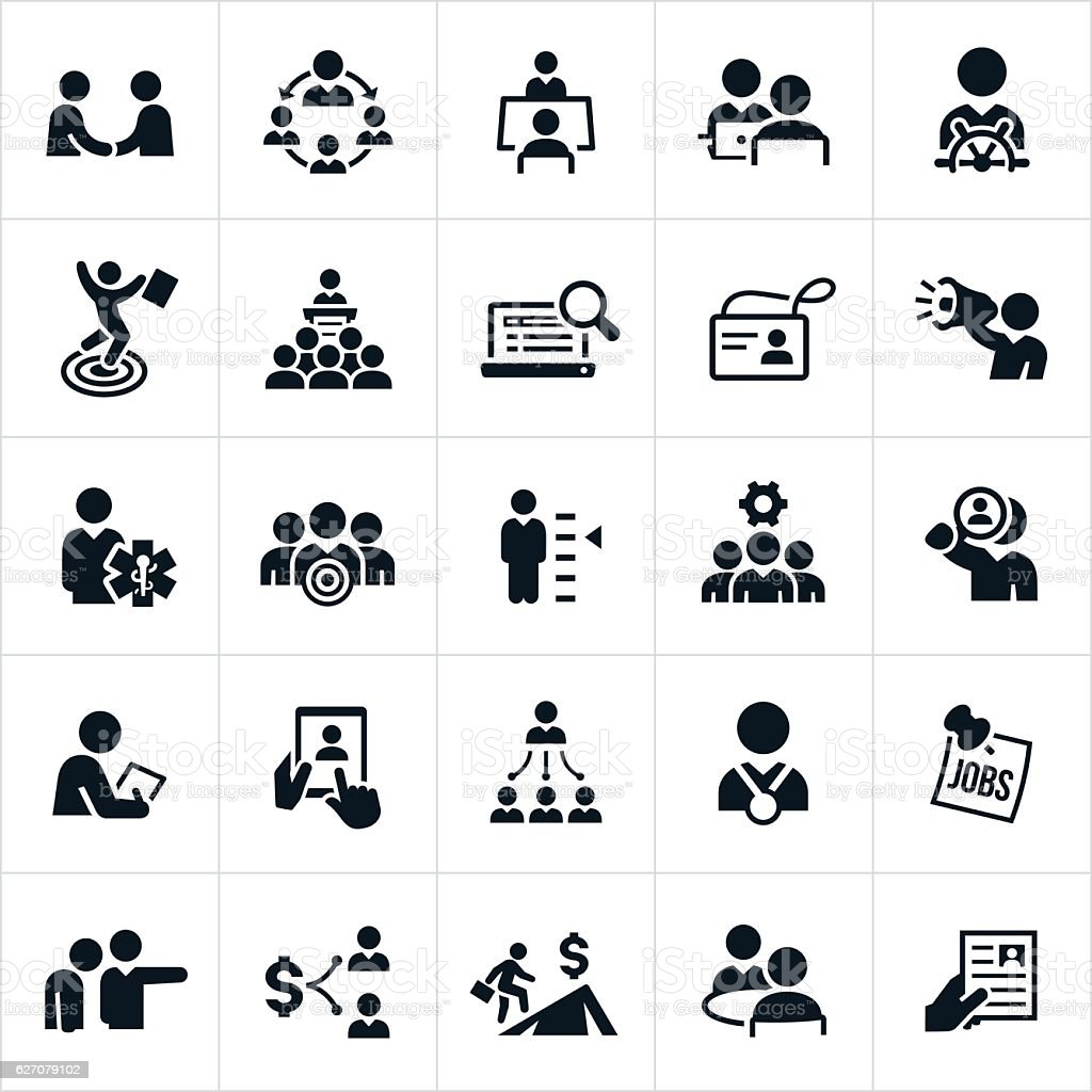 Human Resources and Recruiting Icons vector art illustration