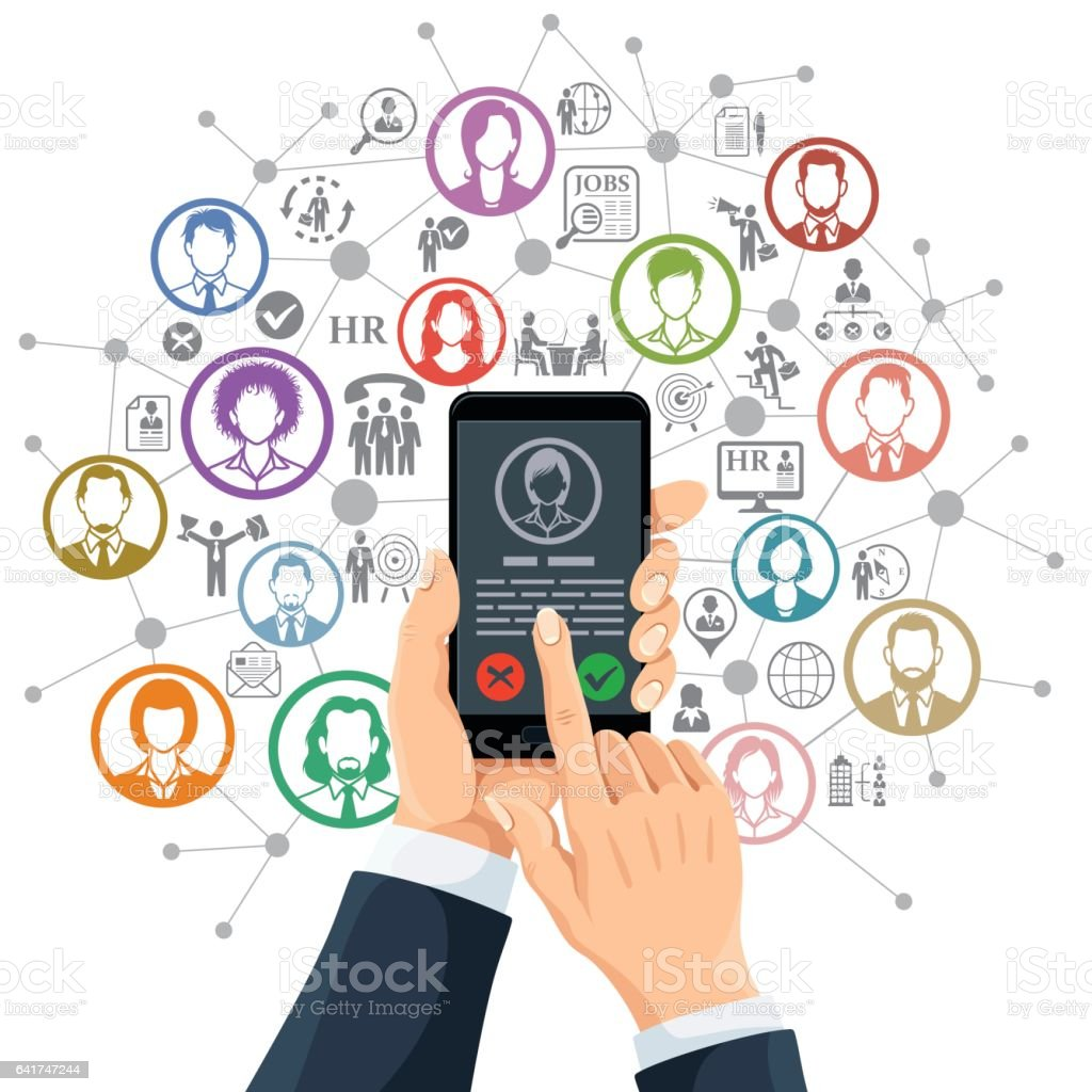 Human Resources App vector art illustration