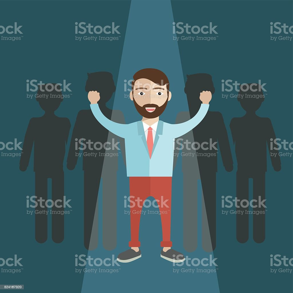 Human Resources concept. choosing the perfect candidate for the job vector art illustration