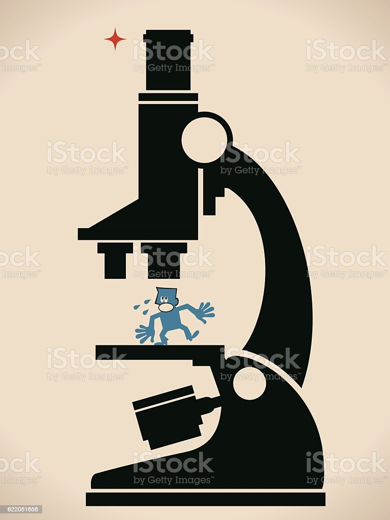 Human Resources Concept, Worried (Scared) Businessman Under A Giant Microscope vector art illustration