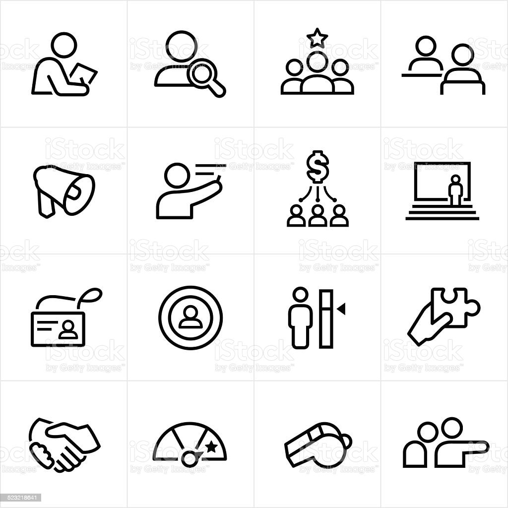 Human Resources Icons - Line Style vector art illustration