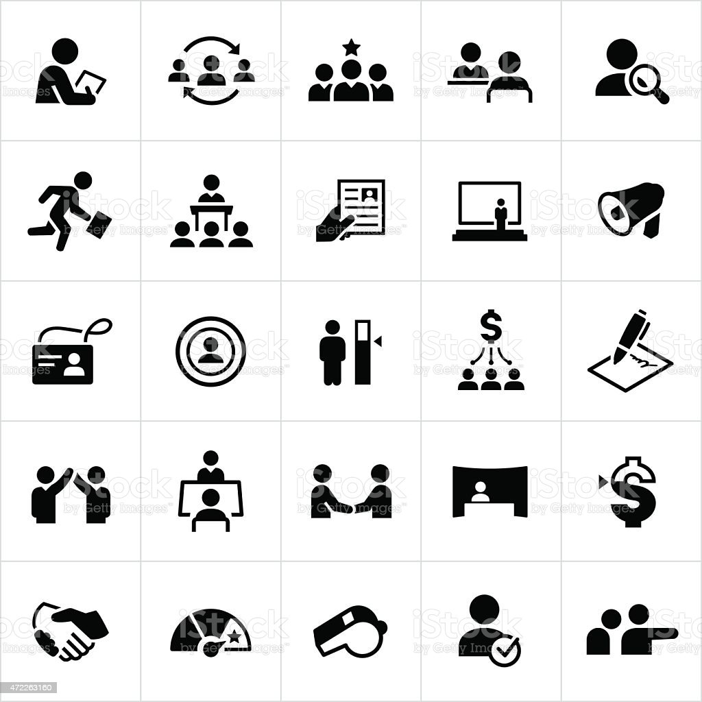 Human Resources Icons vector art illustration