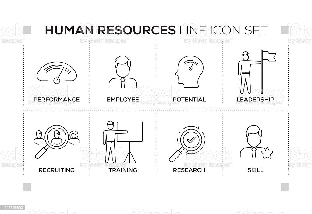 Human Resources keywords with monochrome line icons vector art illustration