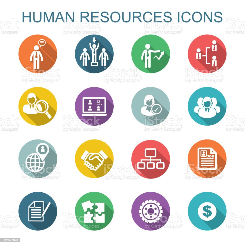 human resources long shadow icons vector art illustration
