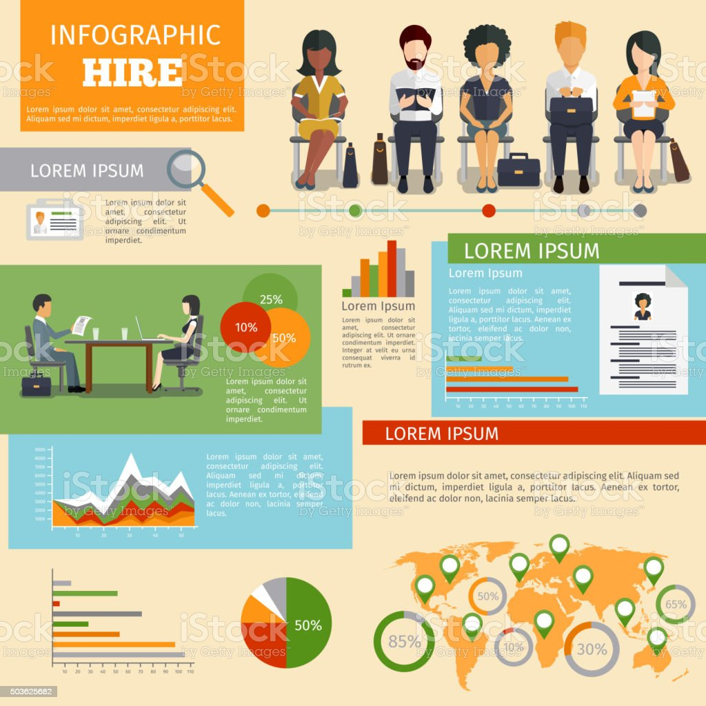 Human resources personnel recruitment vector infographics vector art illustration