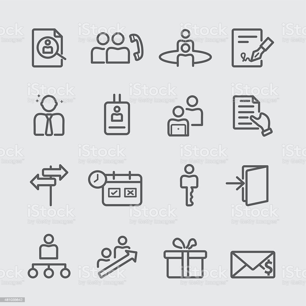 Human resources with new staff line icon vector art illustration