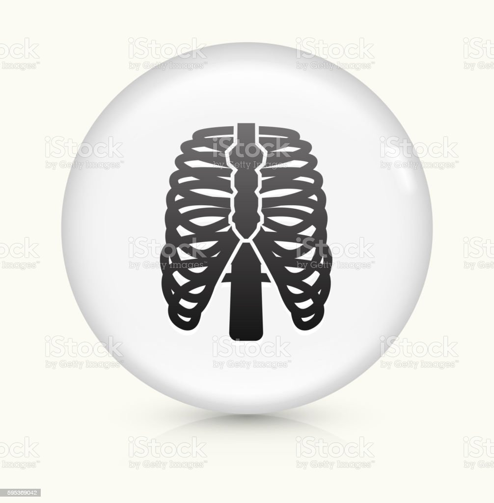 Human Ribs icon on white round vector button vector art illustration