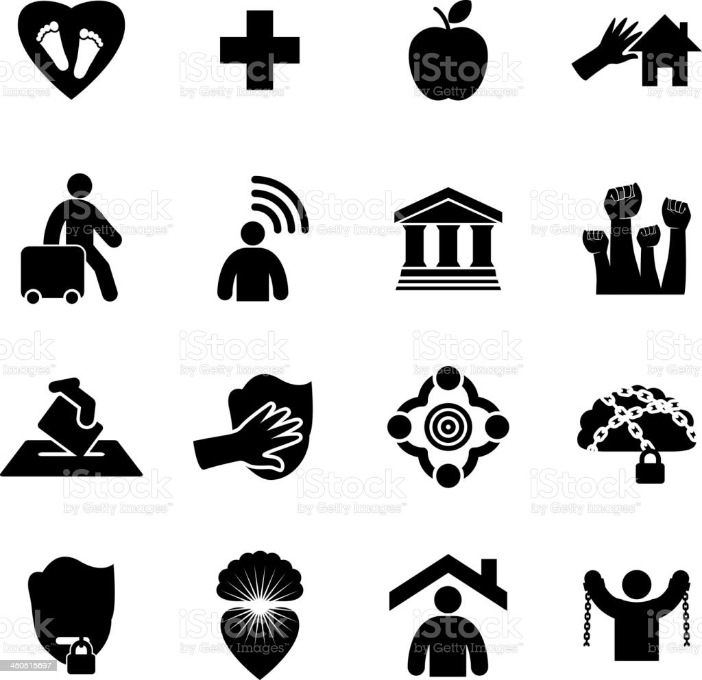 Human Rights Icon Set vector art illustration