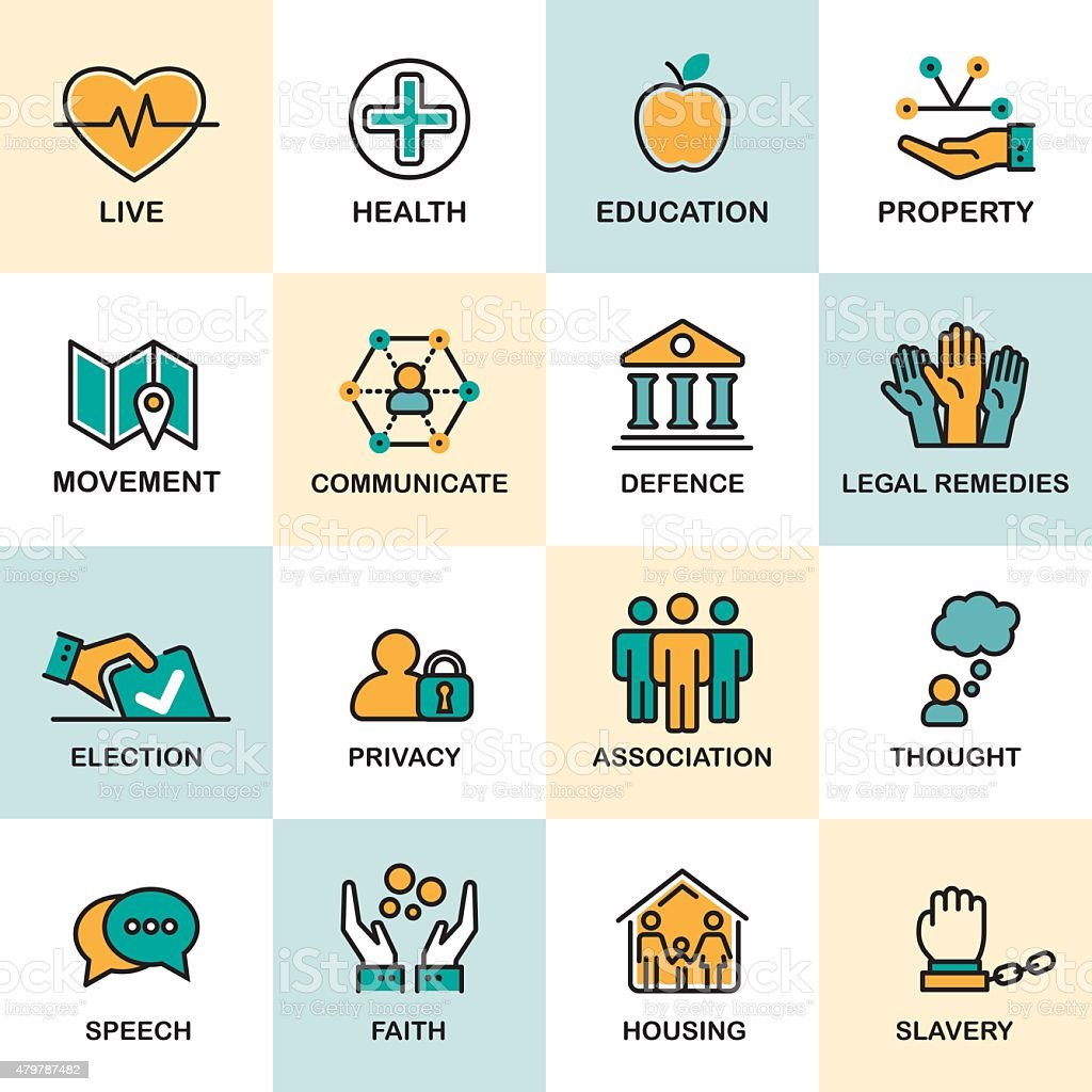 Human Rights Line Icon Set vector art illustration
