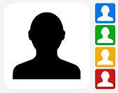 Human Silhouette Icon Flat Graphic Design