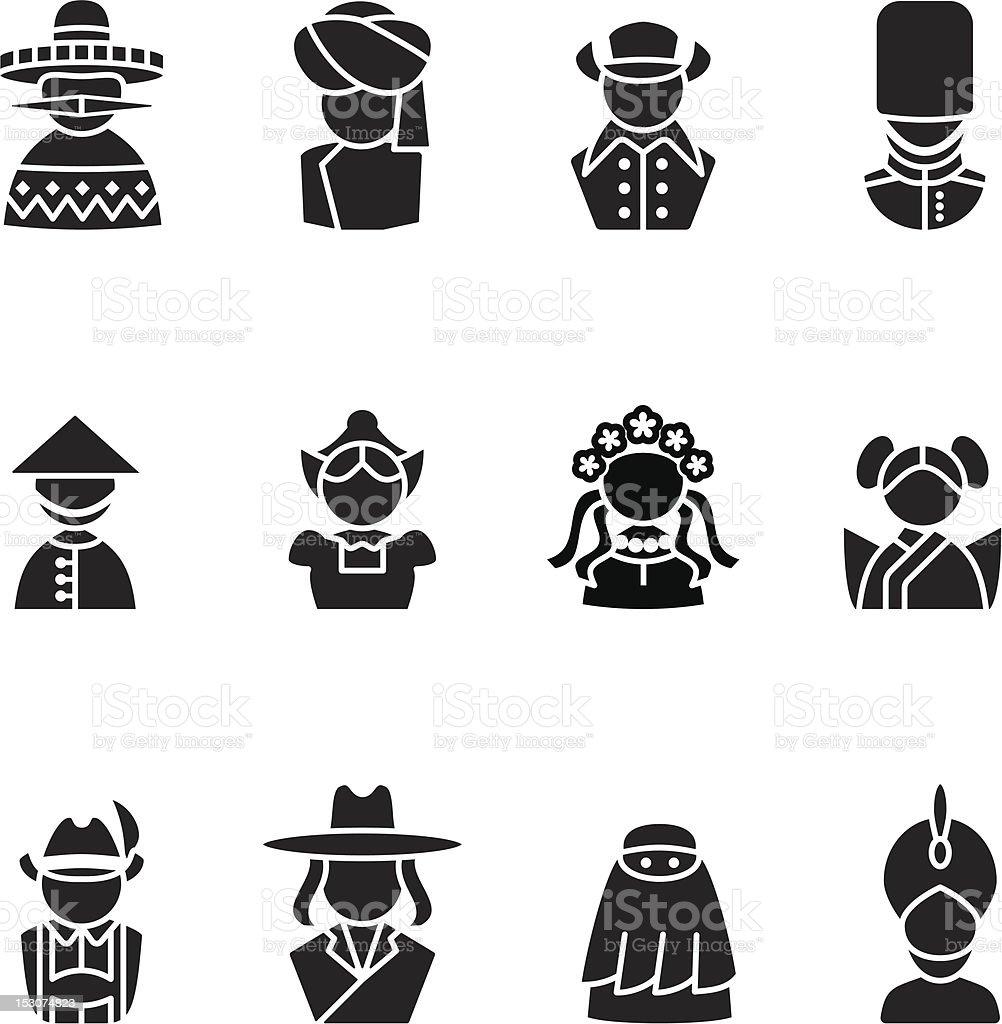 human silhouettes icon set vector art illustration