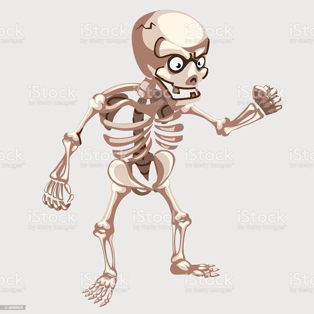 Human skeleton closeup with eyes in cartoon style vector art illustration