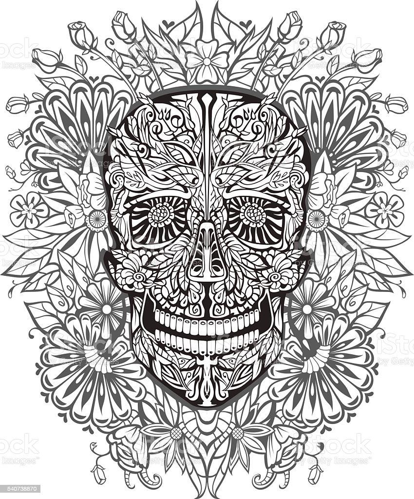 human skull made of flowers vector art illustration
