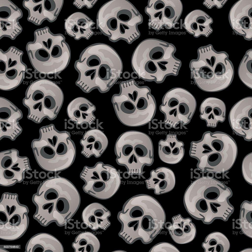 Human skulls on a black background vector art illustration