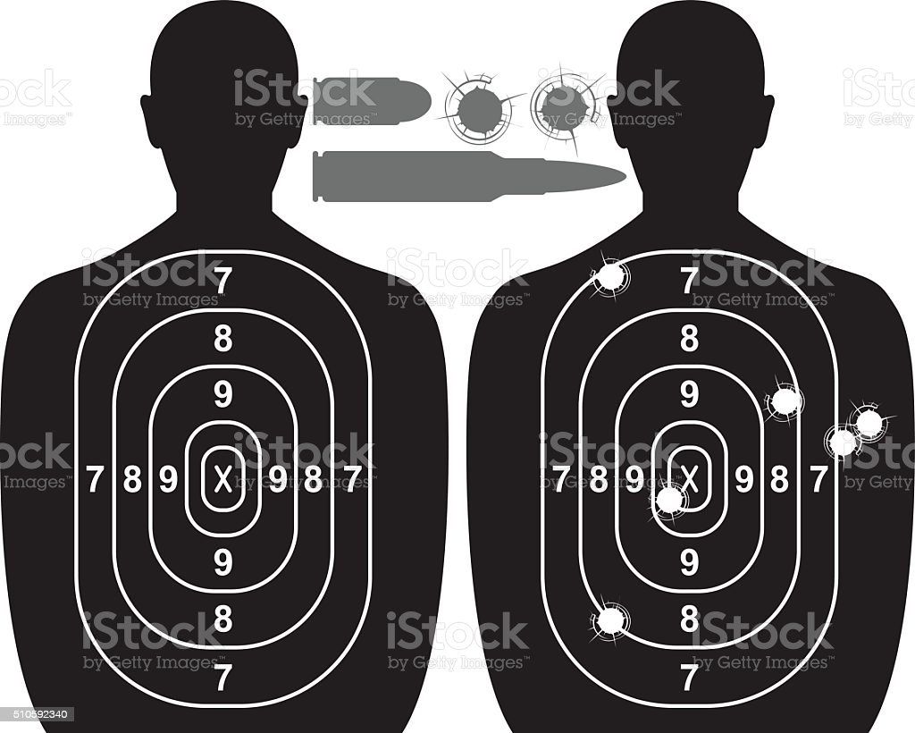 Human target, bullet holes and cartridge case vector art illustration