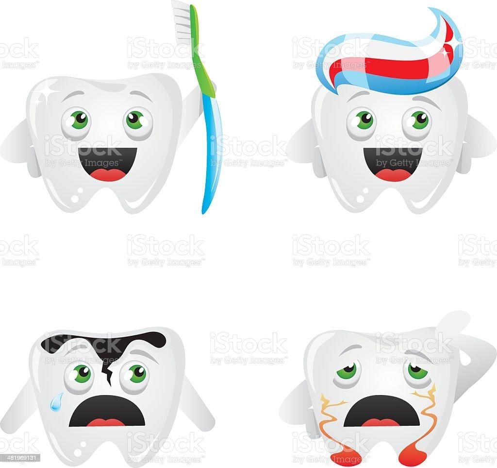 Dentition humaine caractères stock vecteur libres de droits libre de droits